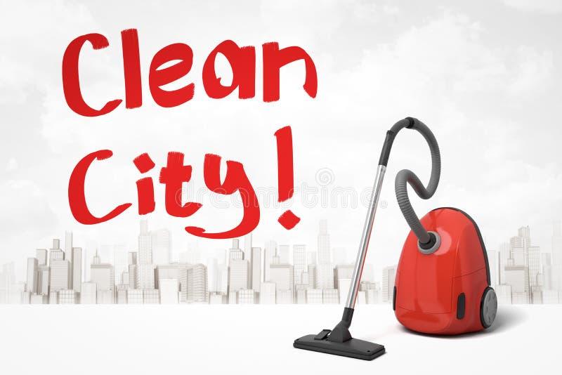 3d teruggave van de rode stofzuiger en de rode titel 'Clean City' tegen de witte achtergrond met de moderne skyline van de stad vector illustratie