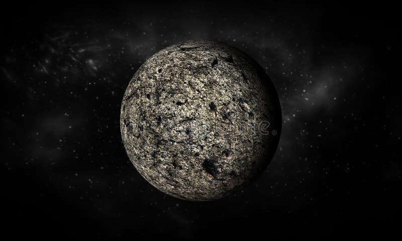 3D-teruggeeft van Maan Uiterst gedetailleerd beeld met inbegrip van elementen stock illustratie
