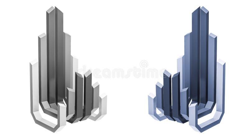 3d teruggegeven, abstract de bouwembleem, perspectiefmening royalty-vrije illustratie