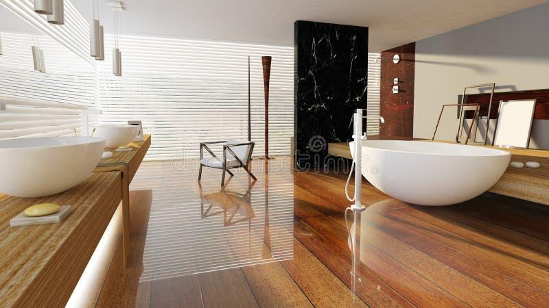 3D teruggegeven badruimte vector illustratie