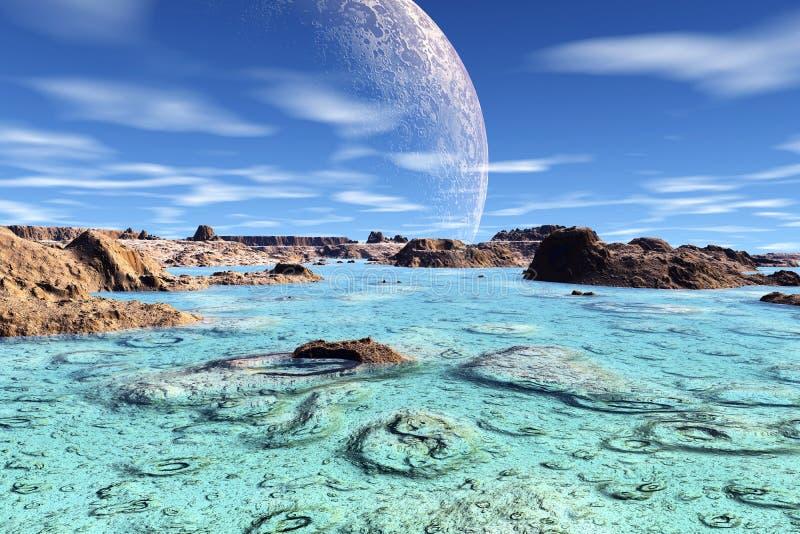 3d teruggegeven fantasie vreemde planeet ondiepte vector illustratie