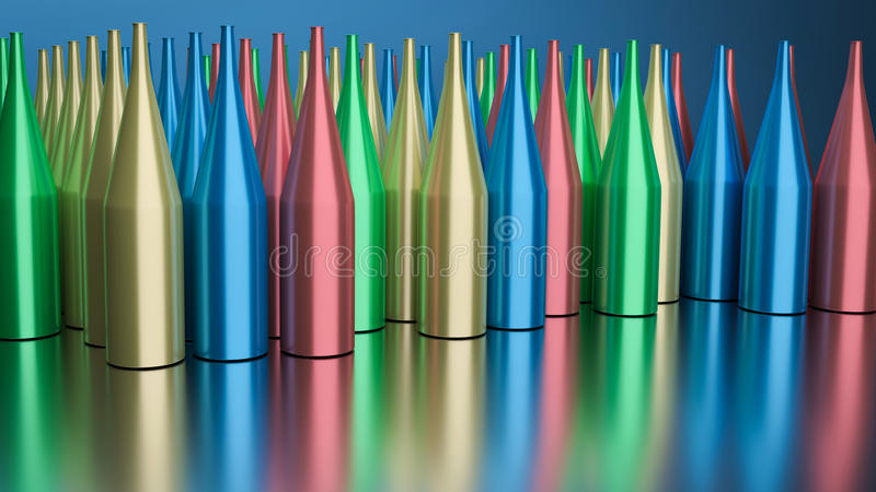 3d teruggegeven flessen vector illustratie