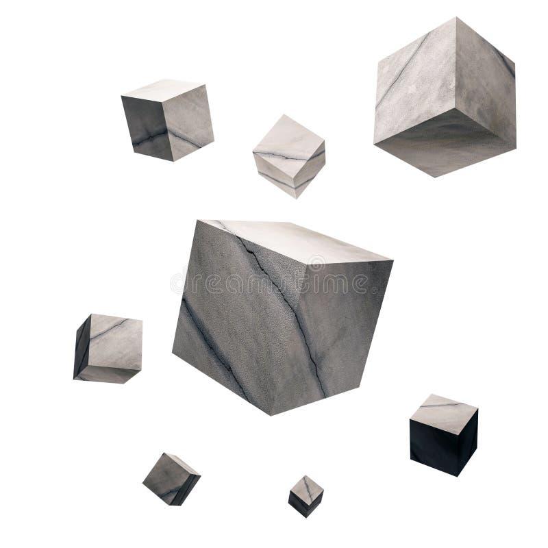 3D teruggegeven, Gebarsten concrete kubussen, op witte achtergrond vector illustratie