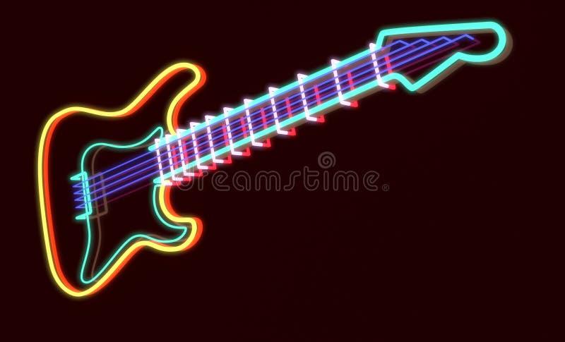 3d teruggegeven gitaar als T.L.-buis royalty-vrije illustratie