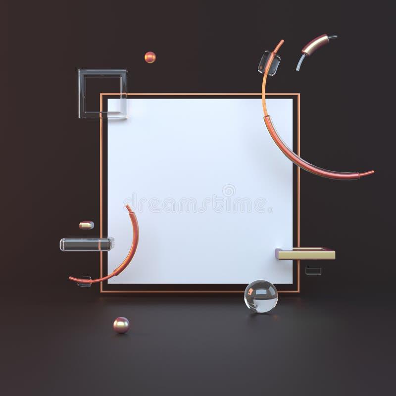 3d teruggegeven illustratie met geometrische vormen Goud en zwarte Minimalistisch ontwerp met lege ruimte royalty-vrije illustratie