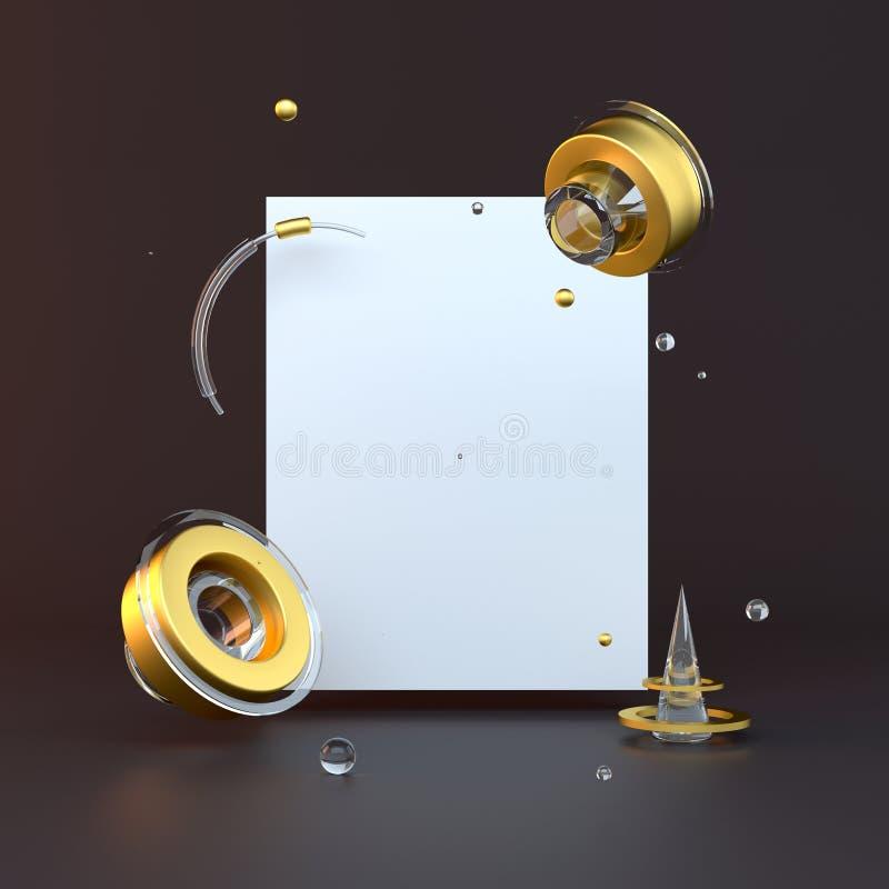 3d teruggegeven illustratie met geometrische vormen Goud en zwarte Minimalistisch ontwerp met lege ruimte vector illustratie