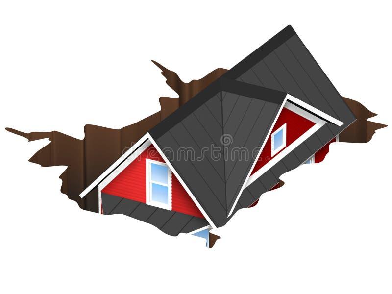 3D Teruggegeven Illustratie van een huis die in een gat vallen Concept voor geldkuil of gootsteengat stock illustratie