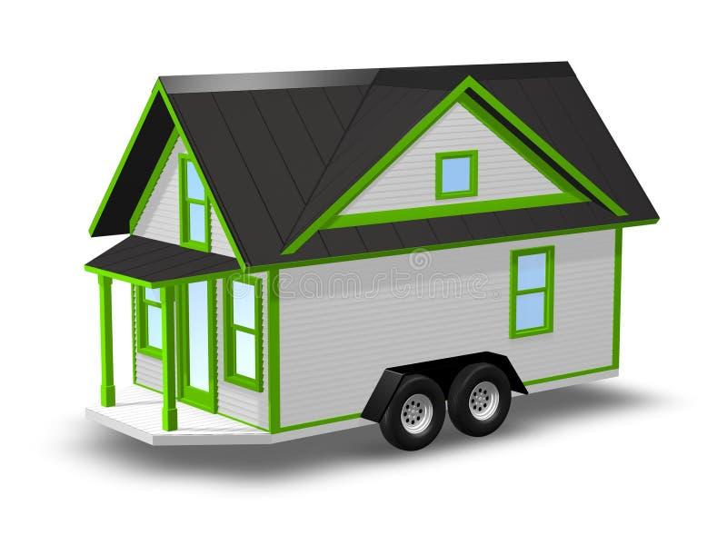 3D Teruggegeven Illustratie van een uiterst klein huis op een aanhangwagen royalty-vrije illustratie