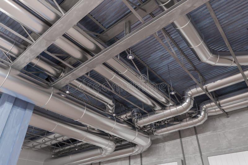 3D teruggegeven illustratie van het systeem en de pijpen van HVAC stock afbeeldingen