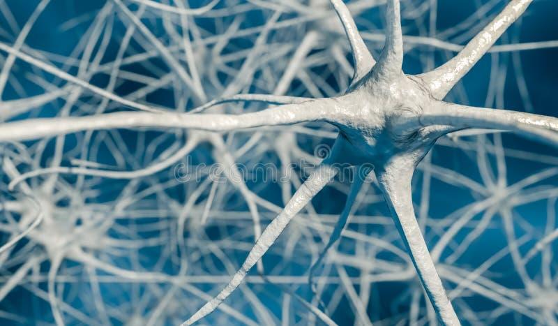 3D teruggegeven illustratie van neuronen in hersenen stock illustratie