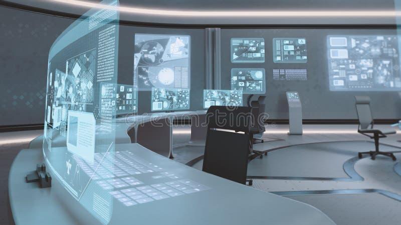 3D teruggegeven lege, moderne, futuristische binnenland van het bevelcentrum royalty-vrije illustratie