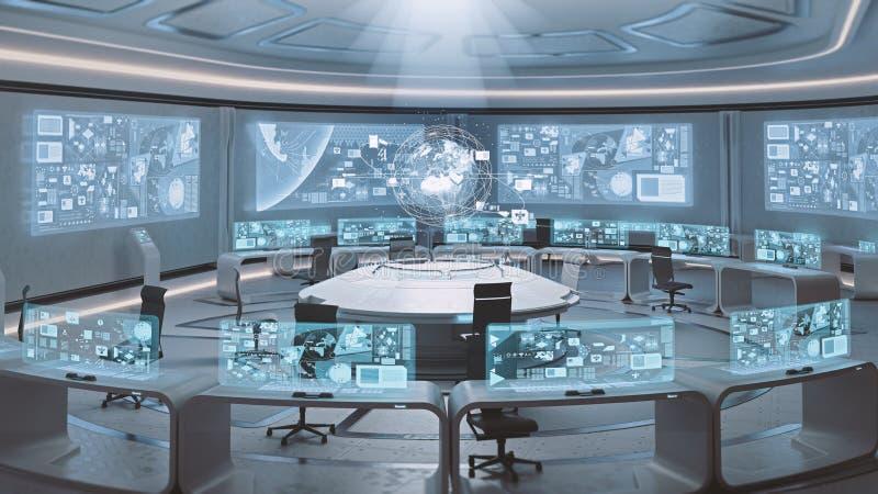 3D teruggegeven lege, moderne, futuristische binnenland van het bevelcentrum stock illustratie
