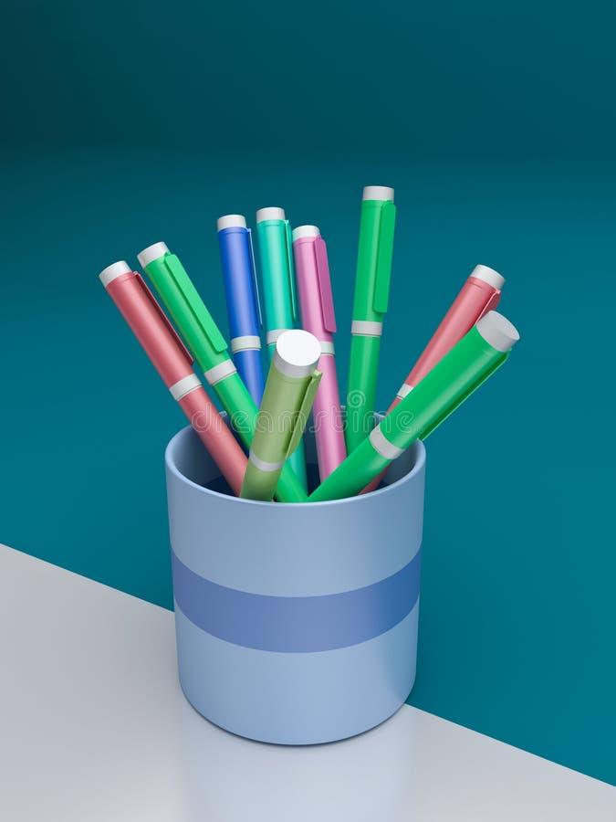 3d teruggegeven pennen stock illustratie