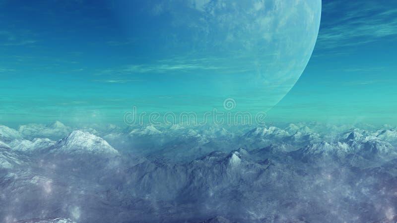 3d teruggegeven Ruimtekunst: Vreemde Planeet royalty-vrije illustratie