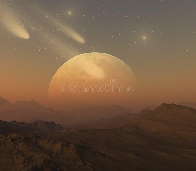3d teruggegeven Ruimtekunst: Vreemde Planeet stock illustratie