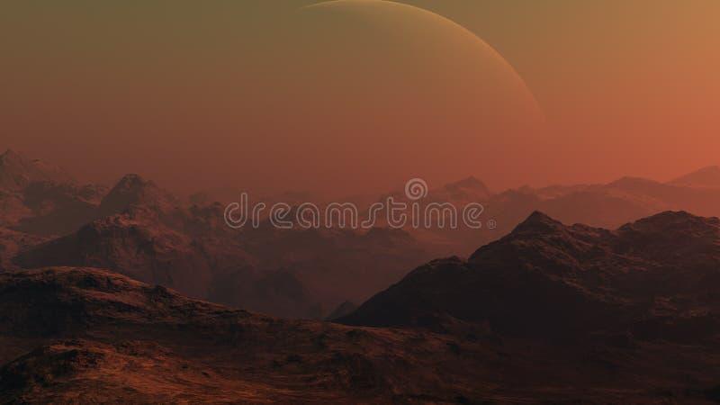 3d teruggegeven Ruimtekunst: Vreemde Planeet stock afbeelding