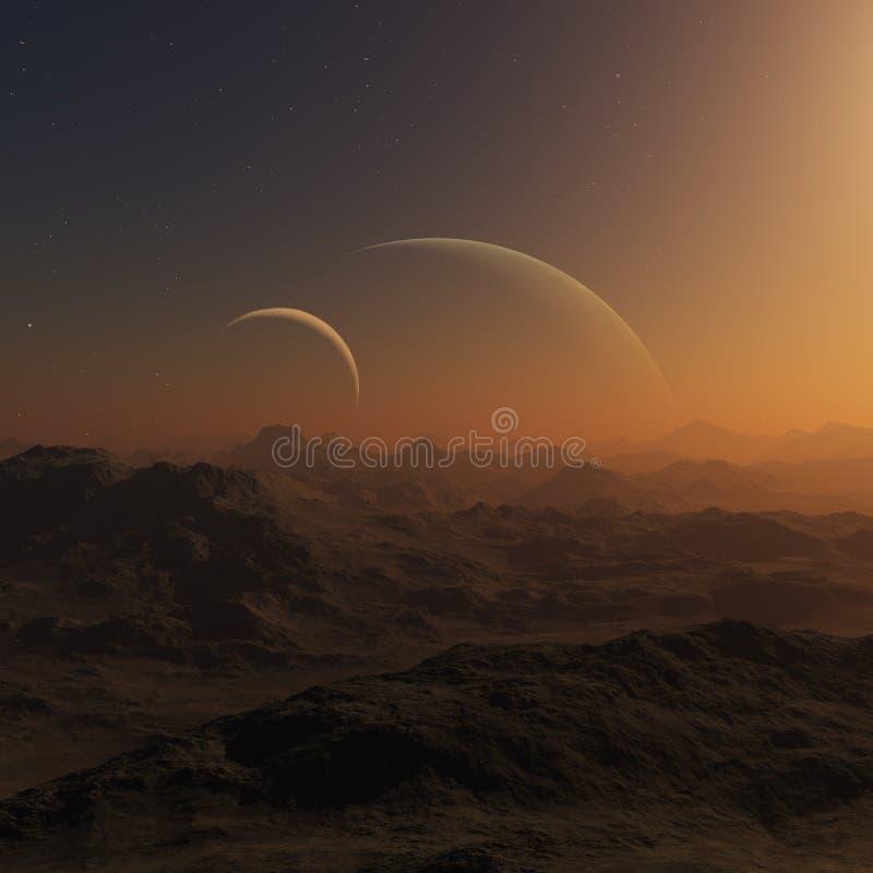 3d teruggegeven Ruimtekunst: Vreemde Planeten vector illustratie
