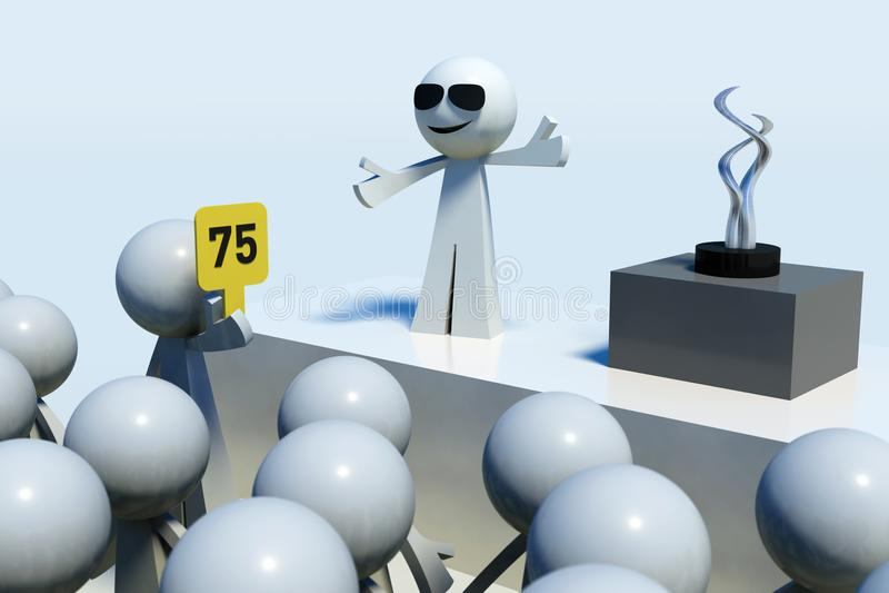 3D teruggegeven stokmensen die in veiling bieden royalty-vrije illustratie