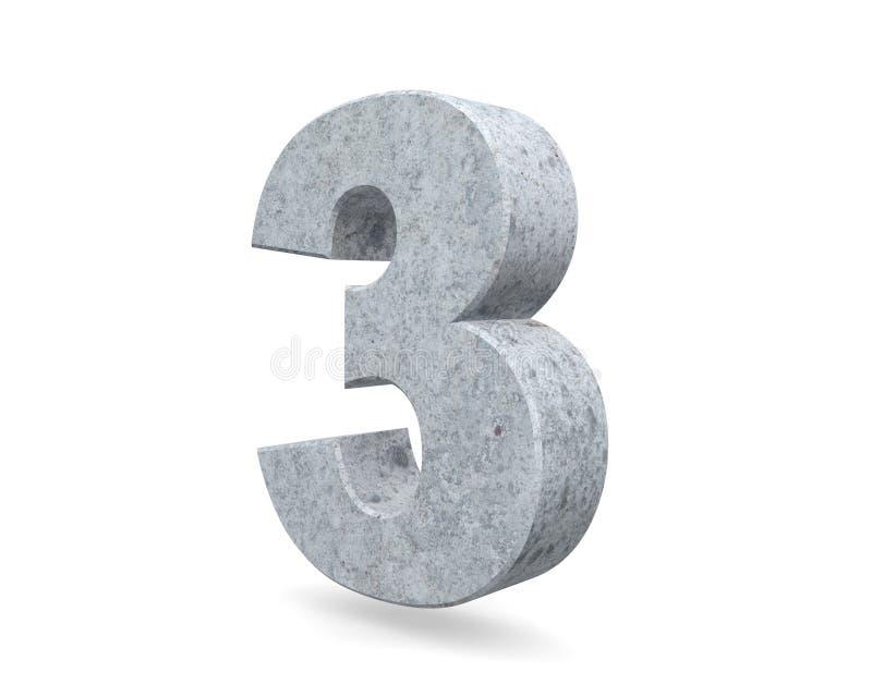 3D teruggevend concreet nummer 3 drie 3d geef illustratie terug stock illustratie