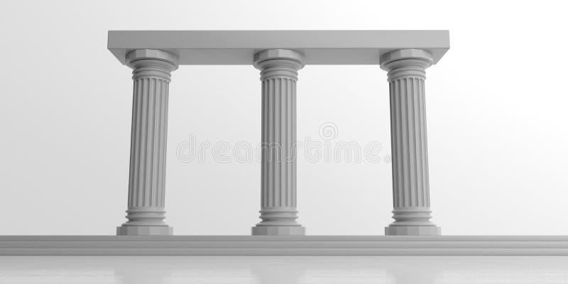 3d teruggevend drie witte marmeren pijlers vector illustratie