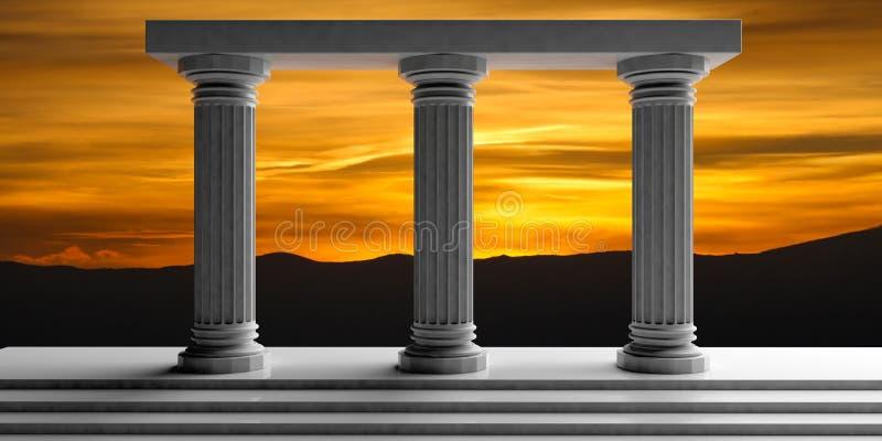 3d teruggevend drie witte marmeren pijlers royalty-vrije illustratie