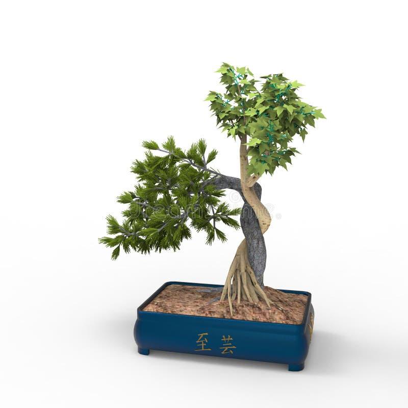 3d teruggevend een bonsai door een mixerhulpmiddel te gebruiken dat wordt gecreeerd Realist 3d bonsai stock illustratie