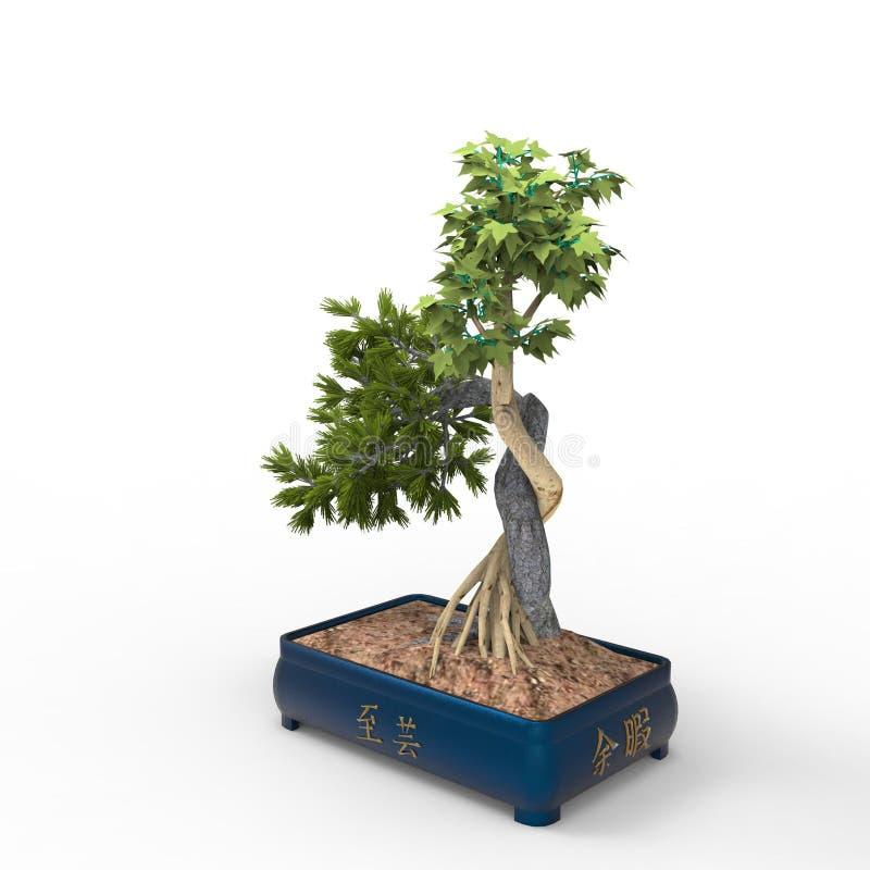 3d teruggevend een bonsai door een mixerhulpmiddel te gebruiken dat wordt gecreeerd Realist 3d bonsai royalty-vrije illustratie