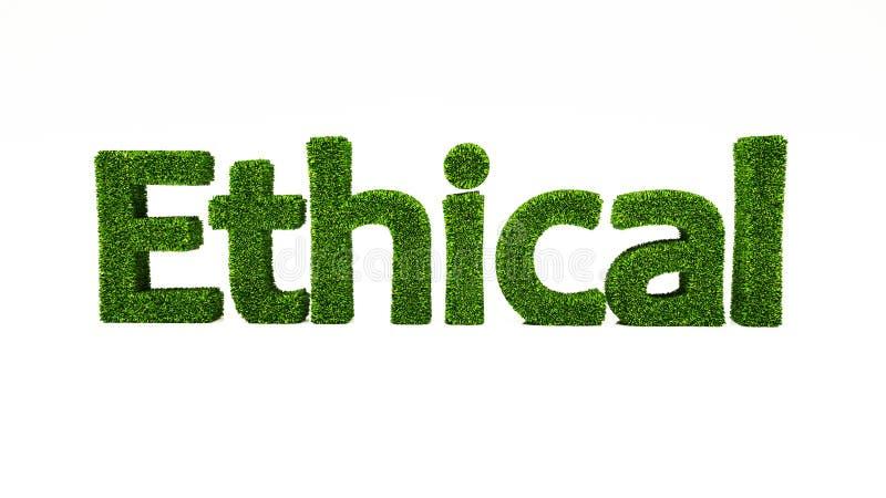 3D teruggevend ETHISCH die woord van groen gras wordt gemaakt vector illustratie