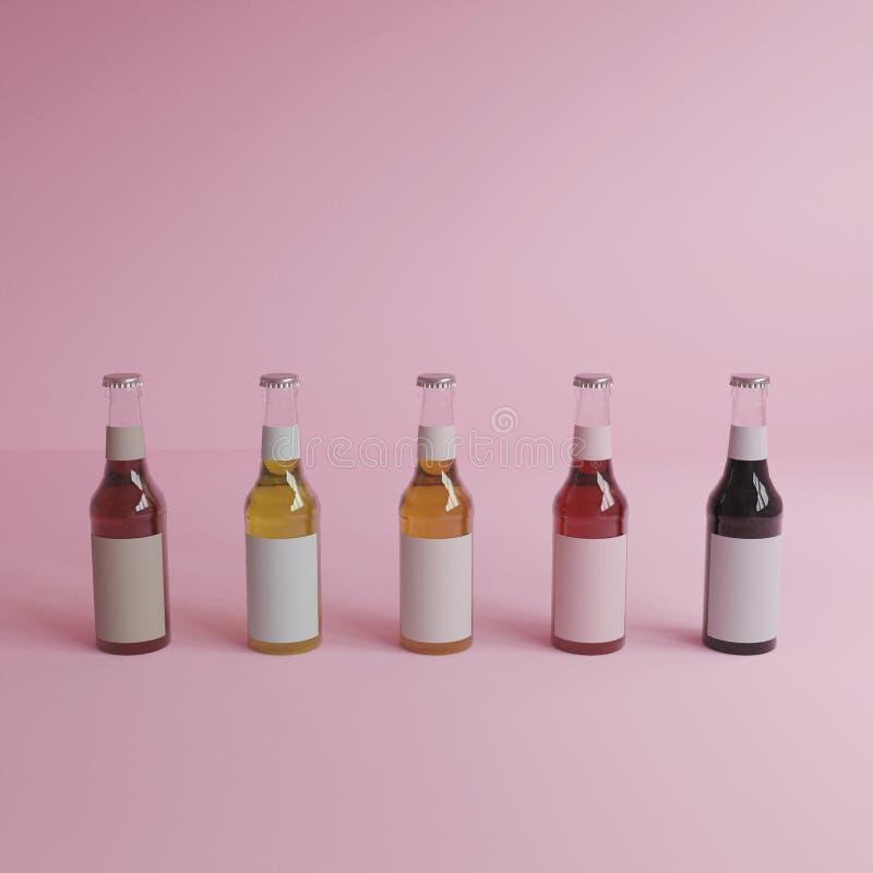 3d teruggevend 5 glasflessen water met witte etiketten, roze achtergrond, minimale stijl, pastelkleurkleur stock illustratie