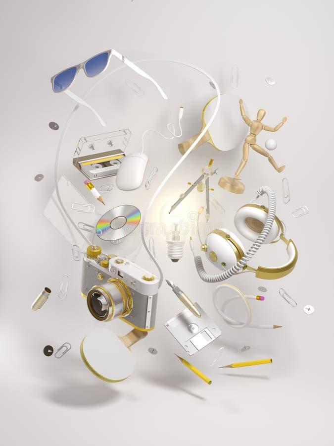 3d teruggevend helder idee en creativiteitconcept royalty-vrije illustratie