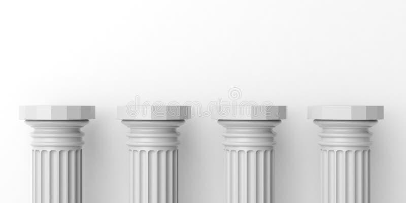 3d teruggevend vier witte marmeren pijlers stock illustratie