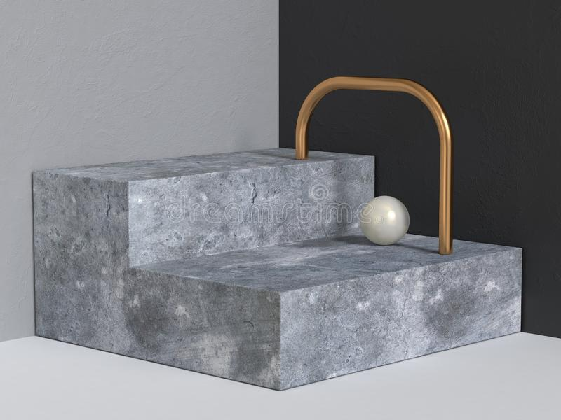3d teruggevende abstracte achtergrond van het concrete stappenpodium geometrische modern royalty-vrije illustratie