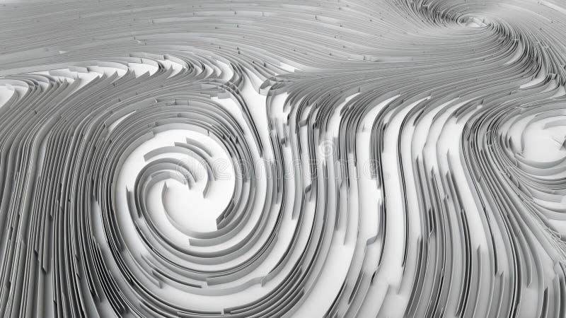 3d teruggevende abstracte zwart-wit oppervlakte stock illustratie