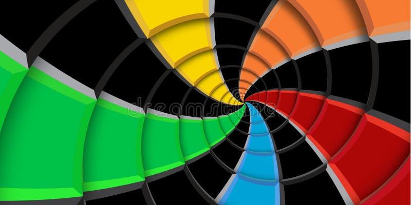 3d teruggevende achtergrond van de illustratiewerveling Regenboogkleuren en zwarte die vierkanten en lijnen in abstract spiraalvo stock foto's