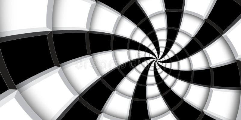 3d teruggevende achtergrond van de illustratiewerveling Zwart-witte vierkanten en lijnen die in abstract spiraalvormig patroon wo royalty-vrije stock afbeelding