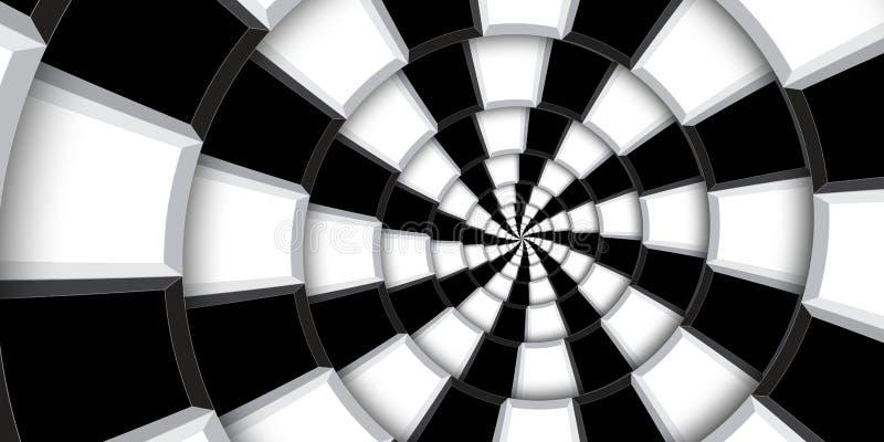 3d teruggevende achtergrond van de illustratiewerveling Zwart-witte vierkanten en lijnen die in abstract spiraalvormig patroon wo stock fotografie