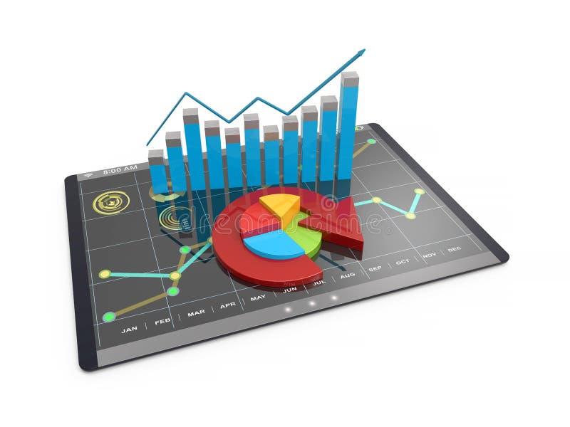 3D Teruggevende analyse van financiële gegevens in grafieken - modern grafisch overzicht van statistieken vector illustratie