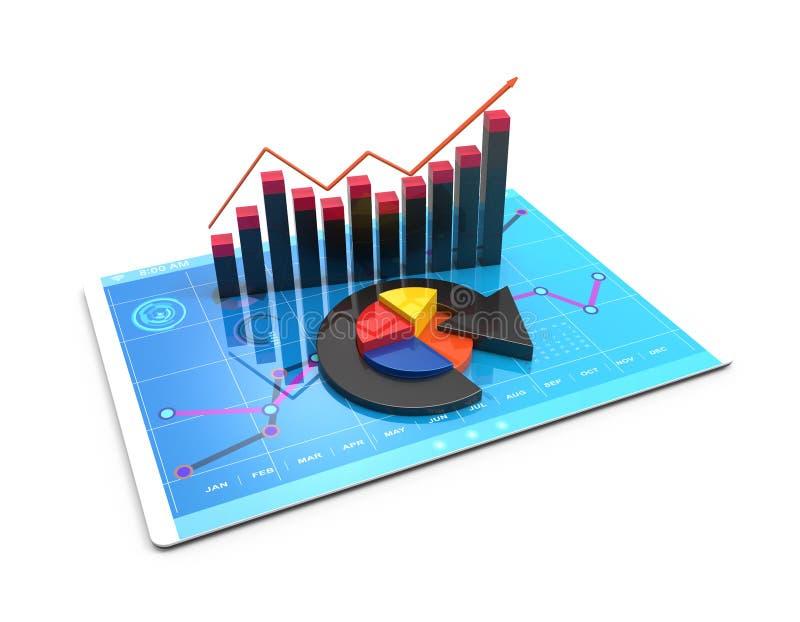 3D Teruggevende analyse van financiële gegevens in grafieken - modern grafisch overzicht van statistieken stock illustratie