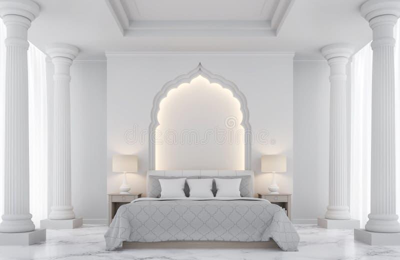 3D teruggevende Beeld van de luxe het witte slaapkamer vector illustratie