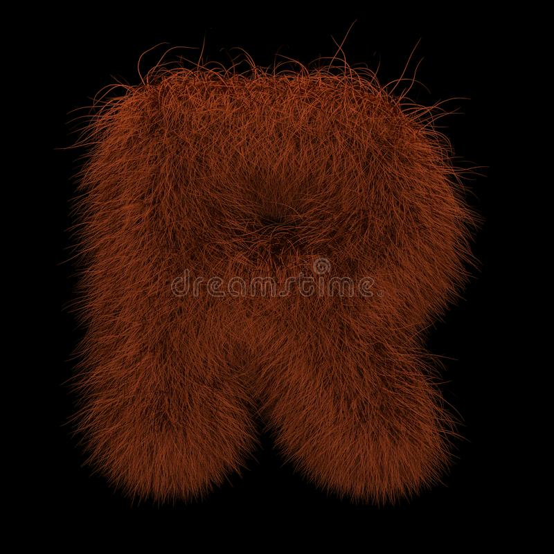 3D Teruggevende Creatieve Illustratie Ginger Orangutan Furry Letter R royalty-vrije illustratie