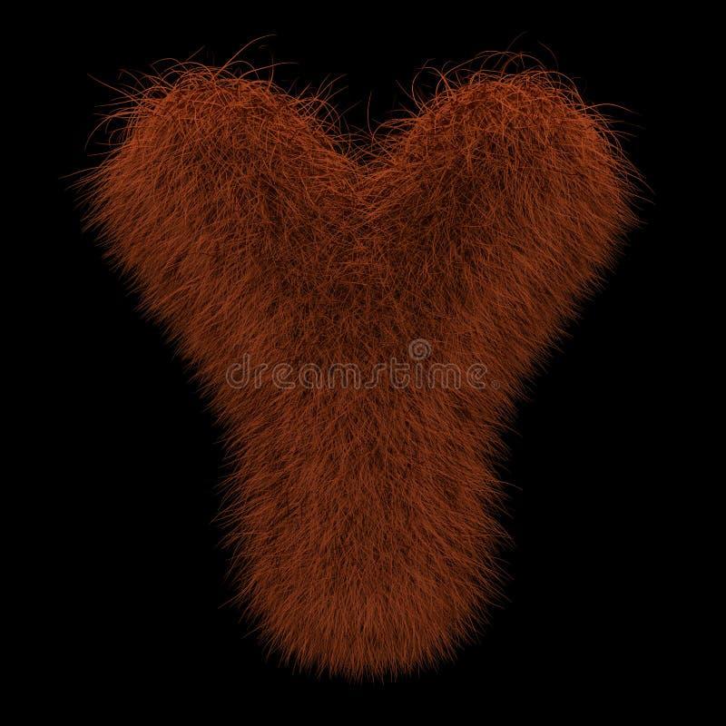 3D Teruggevende Creatieve Illustratie Ginger Orangutan Furry Letter Y royalty-vrije illustratie