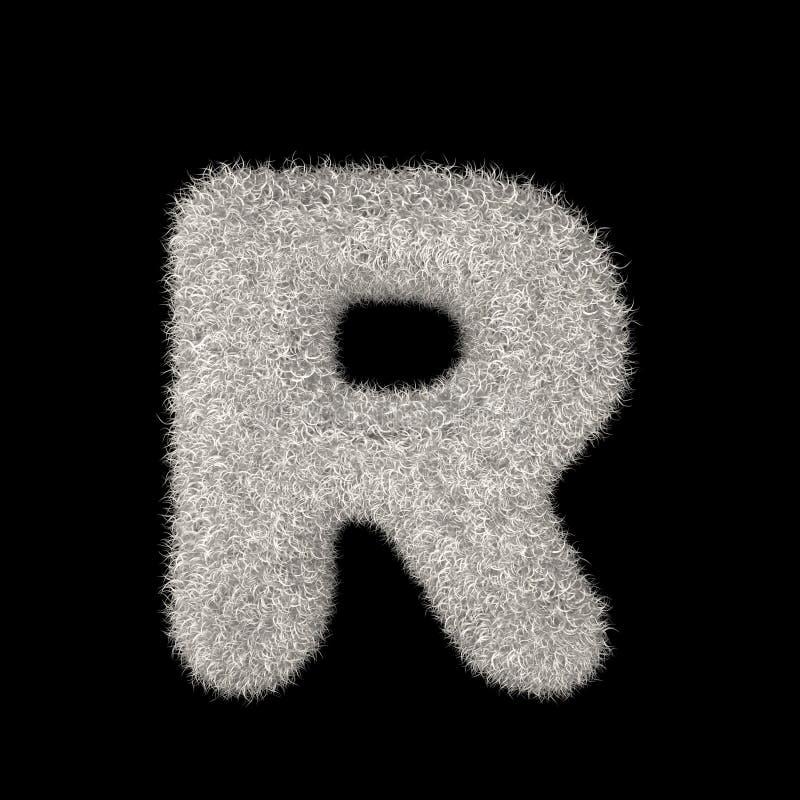3D Teruggevende Creatieve Illustratie Witte Bontbrief R stock illustratie