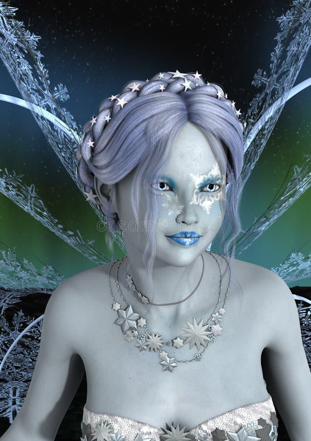 3D Teruggevende de Winterfee royalty-vrije illustratie