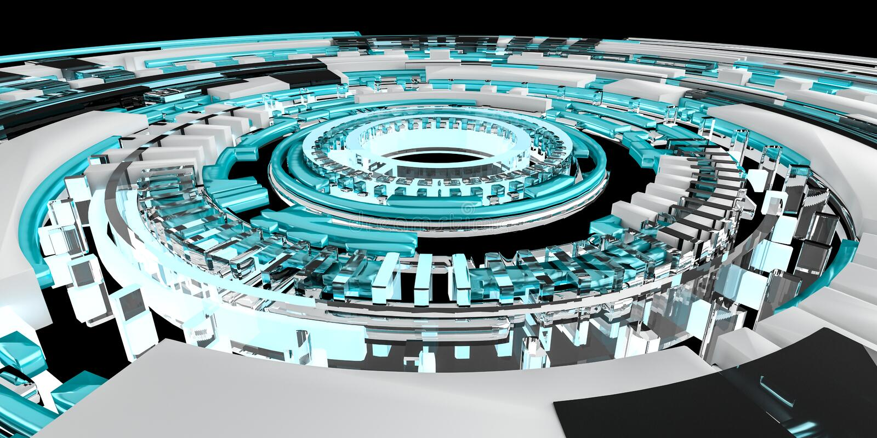3D teruggevende digitale technologie blauwe interface vector illustratie