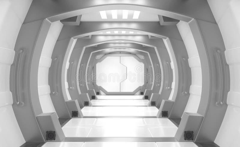 3D teruggevende elementen van dit geleverde beeld, Ruimteschipbinnenland, tunnel, gang vector illustratie