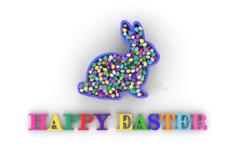 3d teruggevende Gelukkige Pasen-titel, met konijn en multicolored eieren op witte achtergrond vector illustratie