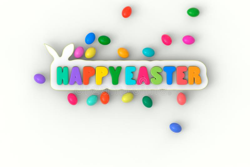 3d teruggevende Gelukkige Pasen-titel, met konijn en multicolored eieren op witte achtergrond royalty-vrije illustratie