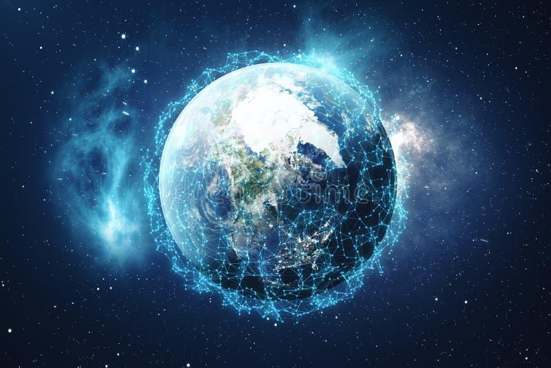 3D Teruggevende Globale Netwerk en Gegevensuitwisseling Verbindingslijnen rond Aardebol Globale Internationale Connectiviteit vector illustratie