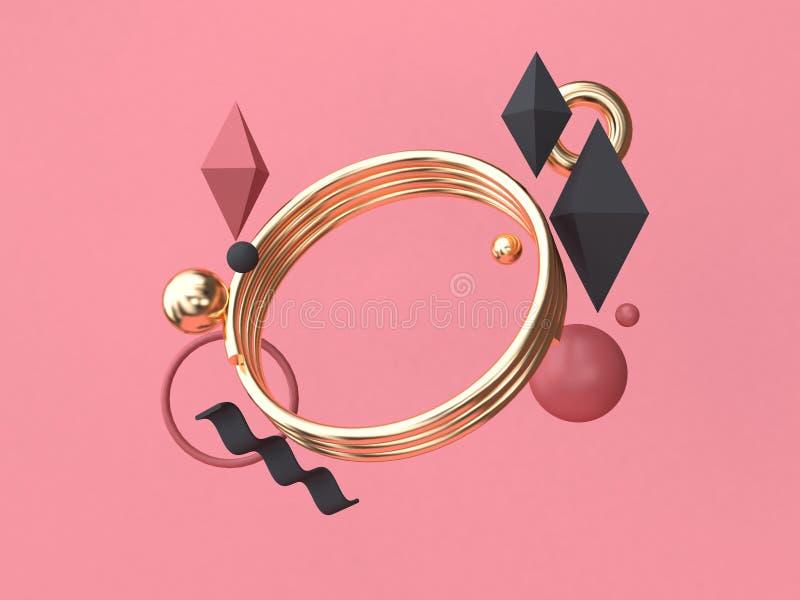 3d teruggevende gouden achtergrond van het cirkel rood-roze het minimale abstracte geometrische vorm drijven stock illustratie
