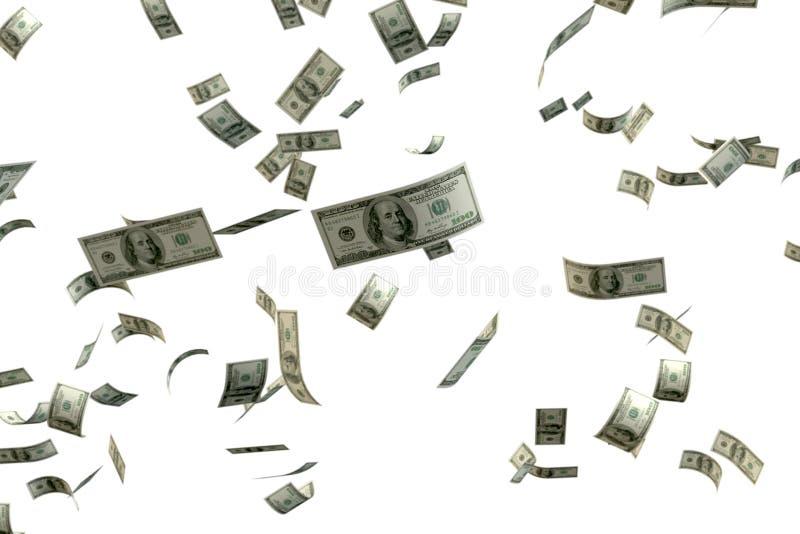 3D teruggevende hoop van geld 100 USD-bankbiljet het vliegen floa royalty-vrije illustratie